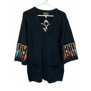 Bob Mackie Indian Bead Embroidered